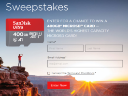 SanDisk Large as Life Sweepstakes Win 400GB MicoSD Card