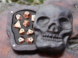 Win Free Wooden Skull Case With Set Of Rose Gold Dice!
